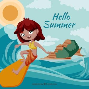 Hallo sommer hintergrund mit mädchen surfen