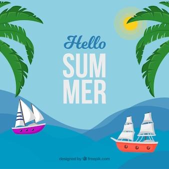 Hallo sommer hintergrund mit segelbooten