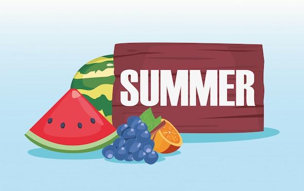 Hallo sommer holzbrett exotische früchte