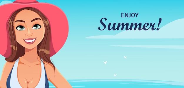 Hallo sommer junge schöne frau im badeanzug, die sich am strand ausruht