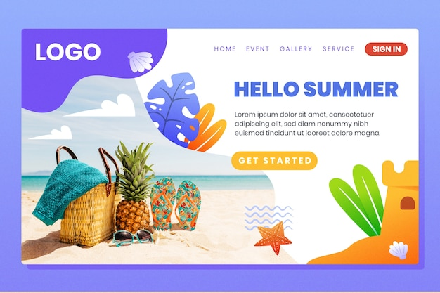 Hallo sommer landing page interface vorlage