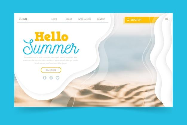 Hallo sommer landing page mit foto