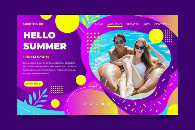 Hallo sommer landing page mit paar am pool