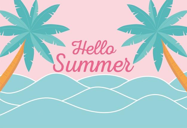 Hallo sommer, meereswellen tropische palmen laubillustration