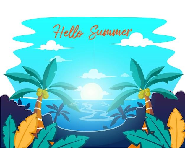 Hallo sommer mit blatt