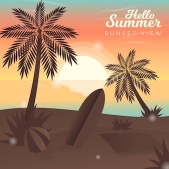 Hallo sommer mit blick auf den sonnenuntergang