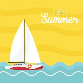Hallo sommer mit boot auf dem meer.