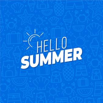 Hallo sommer mit einfachen früchten und zeichnungen