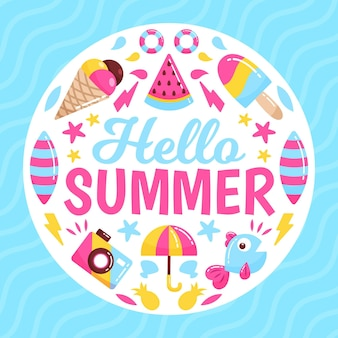 Hallo sommer mit eis und strandutensilien