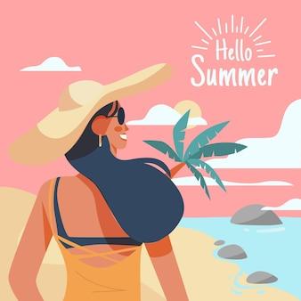 Hallo sommer mit frau am strand