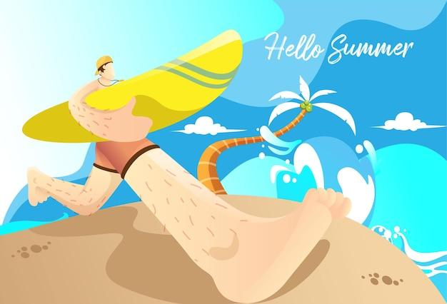 Hallo sommer mit leuten die surfen wollen
