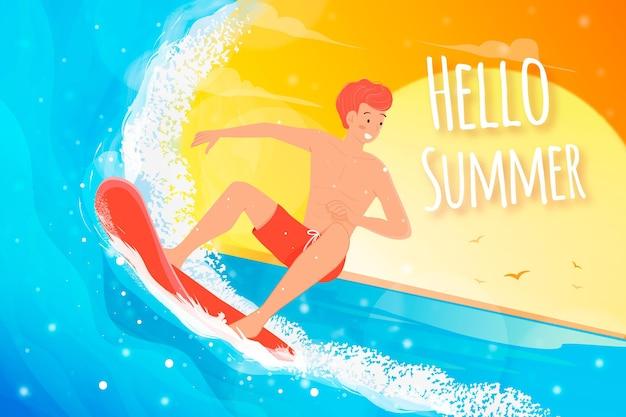 Hallo sommer mit mann beim surfen