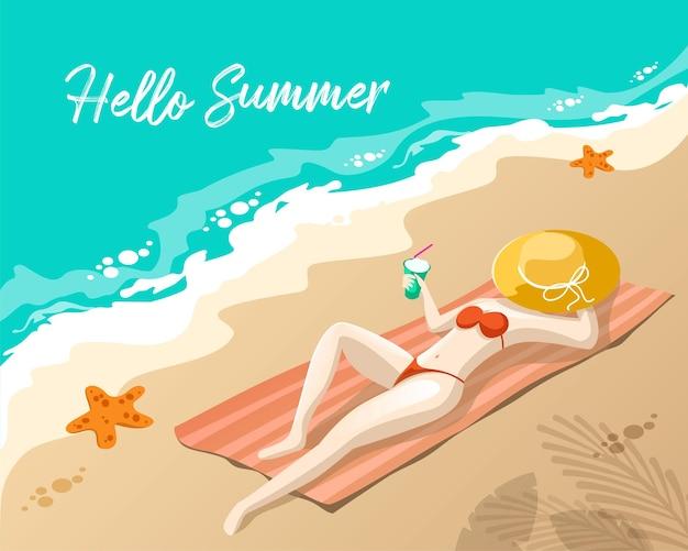 Hallo sommer mit menschen, die sich am strand sonnen sun