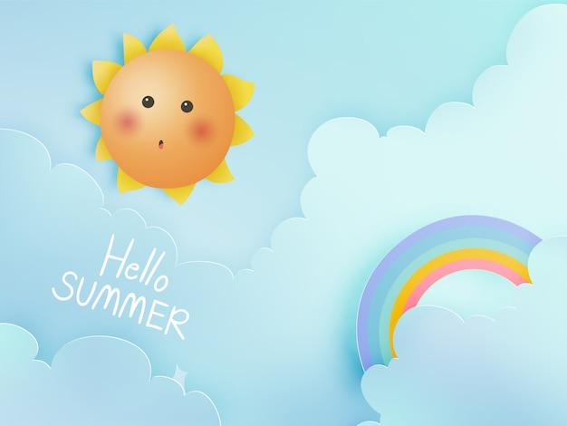 Hallo sommer mit nettem sonnigem und papierkunsthimmel