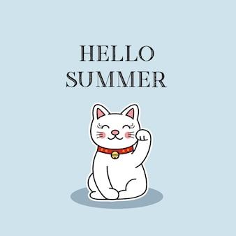 Hallo sommer mit netter katze, vektorillustration