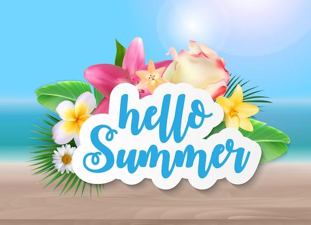 Hallo sommer mit palmblättern und blumen