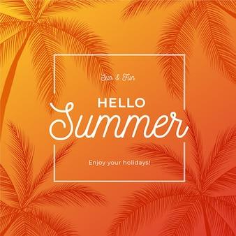 Hallo sommer mit palmen