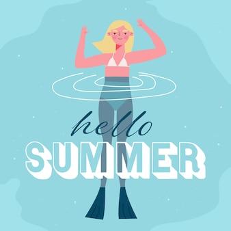 Hallo sommer mit schwimmender frau