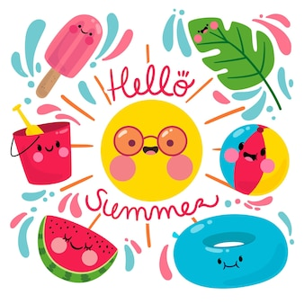Hallo sommer mit sonne und wassermelone