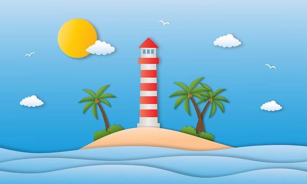 Hallo sommer mit strandlandschaft hintergrund papierkunst stil