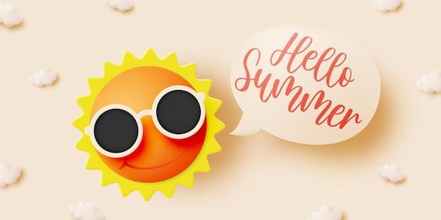 Hallo sommer mit süßer sonne und wolke im 3d-papierkunsthintergrund und pastellfarbschema