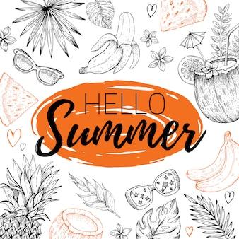 Hallo sommer mit text, tropisches blattmuster. hand gezeichnetes gekritzel