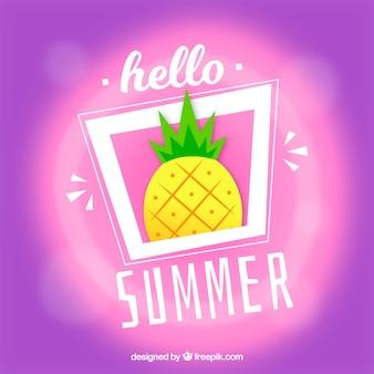 Hallo sommer mit unscharfem hintergrund