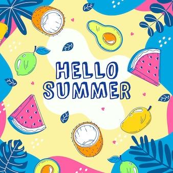 Hallo sommer mit wassermelone und kokosnuss