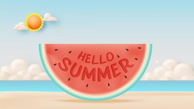 Hallo sommer mit wassermelone und strandhintergrund