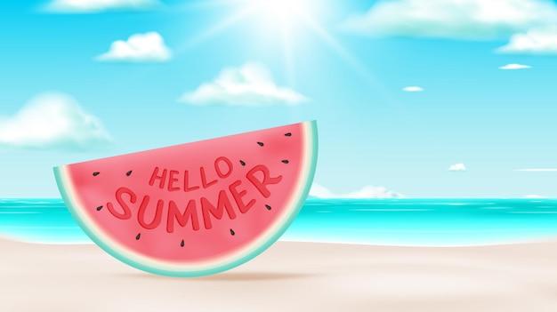 Hallo sommer mit wassermelonen- und strandhintergrund im niedlichen 3d-kunststil und pastellfarbschema