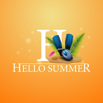 Hallo sommer, orange postkarte mit tauchmaske, flossen und palmblättern