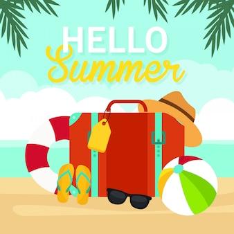 Hallo sommer, reisetasche auf strandillustration, reisezeit, vektor