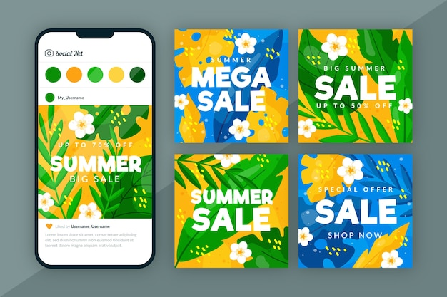 Hallo sommer sale instagram post design