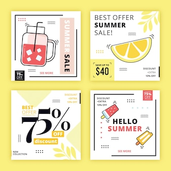 Hallo sommer sale instagram post pack