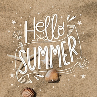 Hallo sommer schriftzug design