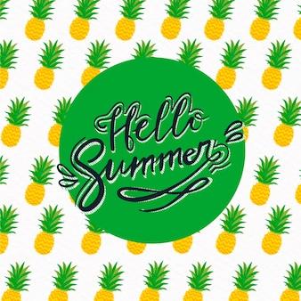 Hallo sommer schriftzug mit ananas