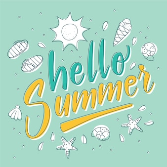 Hallo sommer schriftzug mit elementen