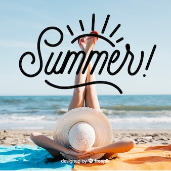 Hallo sommer schriftzug mit foto