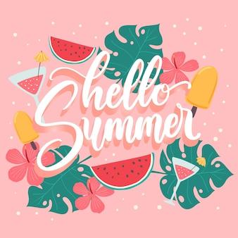 Hallo sommer schriftzug mit wassermelone