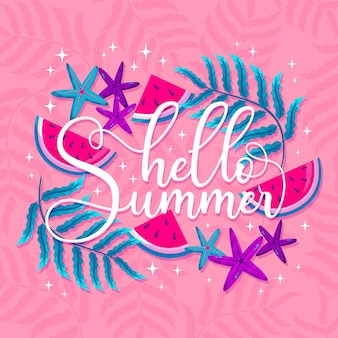 Hallo sommer schriftzug scheiben wassermelone