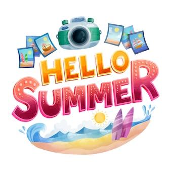 Hallo sommer schriftzug und retro kamera