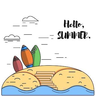 Hallo sommer schriftzug und urfing boards an einem sandstrand.