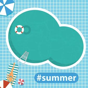 Hallo sommer. schwimmbad. flache vektor-illustration