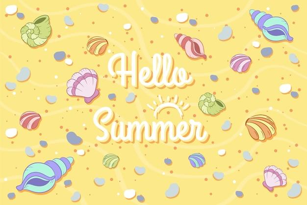 Hallo sommer süße bunte zeichenschalen am strand