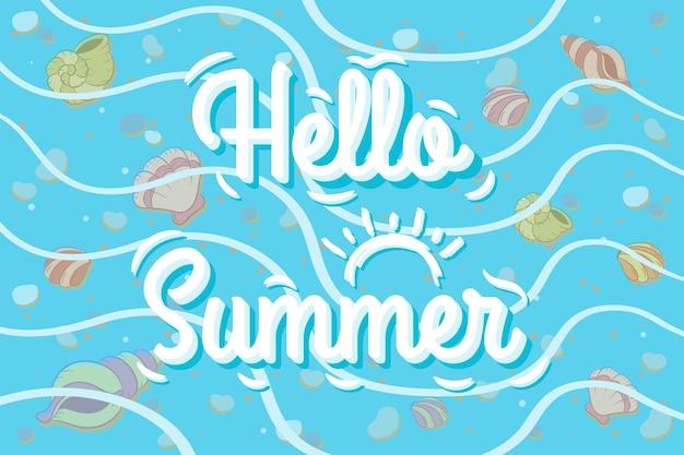 Hallo sommer süße zeichen muscheln unter dem meer