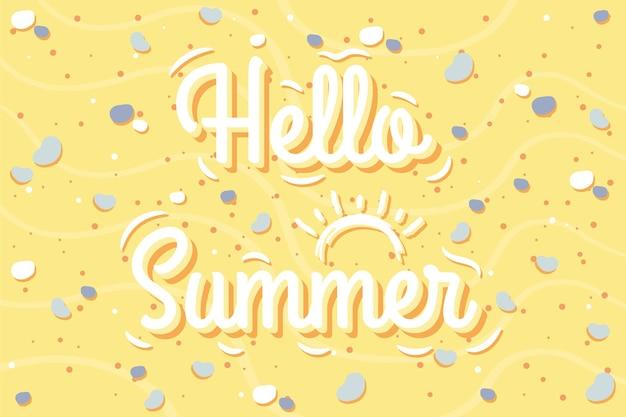 Hallo sommer süße zeichnung felsen am strand