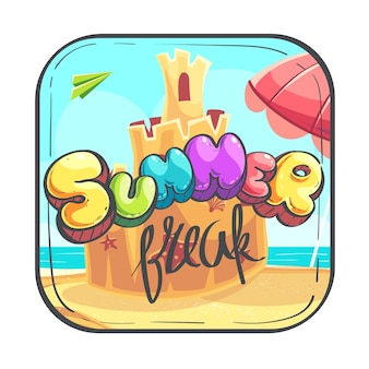 Hallo sommer-symbol - cartoon stilisierte vektor-illustration sandburg