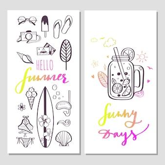 Hallo sommer trendige banner mit handgezeichneten illustrationen und handgeschriebener kalligraphie