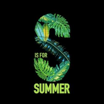 Hallo sommer tropical design mit palmblättern