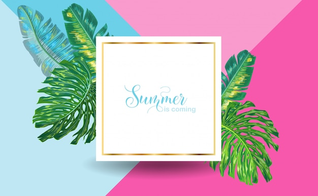 Hallo sommer tropical design mit palmblättern